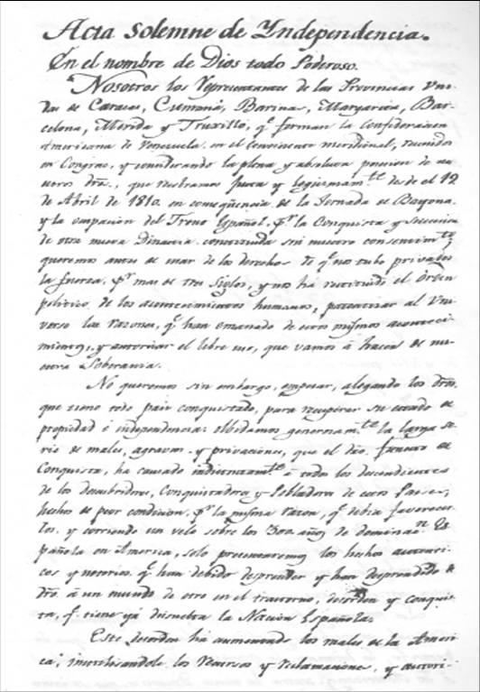 5 de Julio de 1811: Declaración de la independencia de Venezuela ...