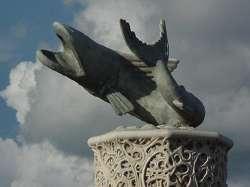 ''Bagre Dorado'' escultura a las orillas del río