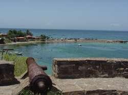 Vista a la bahía desde el castillo de Pampatar en Margarita