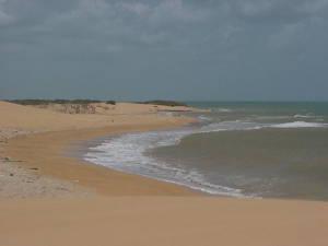 Playa desierta cerca del cabo San Román, al lado de los médanos